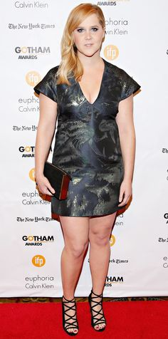 Amy Schumer's Best Red Carpet Looks - In a Jacquard Dress, 2014  from InStyle.com