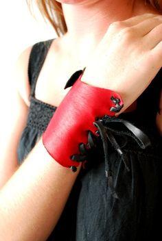 Soft Handmade Red Leather Cuff/Gauntlet