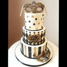 Jordyn's black, white, and gold masquerade themed Sweet 16 birthday cake! Not…
