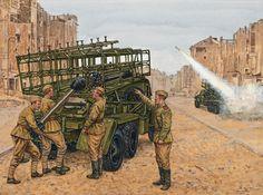 Russian soldiers with Katyusha