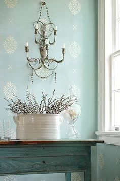 It's the color combo.Wall Stencil Damask Pattern Wall Room Decor Made by OMG Stencils Home Improvements Color Paintings 0255 Painted Drawers, Robins Egg, Duck Egg Blue, Home And Deco, Wall Patterns, Fabric Wallpaper, Bedroom Wallpaper, Cottage Style, Cottage Chic