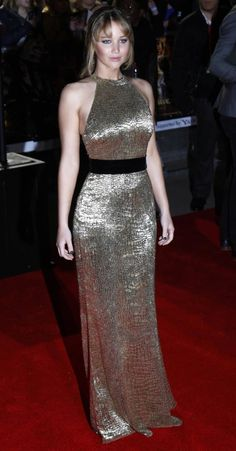Emilio Pucci Gold Caviar Skull Dress Jennifer Lawrence Gold Dress