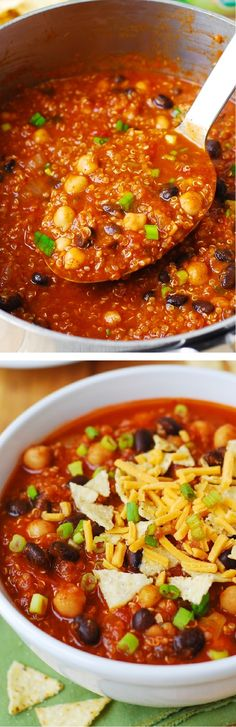 Delicious Pumpkin Quinoa Chili with Black Beans and Chickpeas (garbanzo beans) – a yummy vegetarian version of a regular chili – this recipe will keep you full and satisfied!