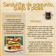sanduíche de presunto, queijo e picles
