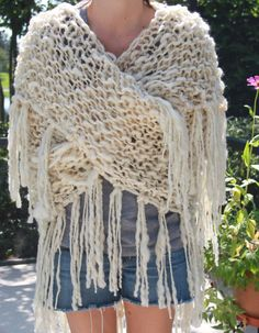 Luxurious Hand Knit Ivory TrIangle Shawl is Super by bpenatzer, $198.00