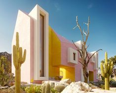 World Architecture Community News - Architects design Sonora House playing with vivid colours and strong geometries in Sonoran Desert Sanaa Architecture, Le Corbusier Architecture, Hospital Architecture, Plans Architecture, Architecture Design, Watercolor Architecture, Baroque Architecture, Architecture Graphics, Minimalist Architecture