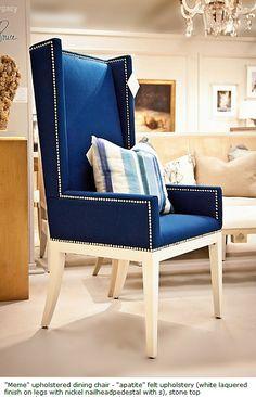 blue velvet wingback chair