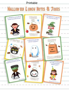 Make school lunches more fun this October with these free printable Halloween Lunchbox Notes and great ideas for Halloween-themed lunch foods!