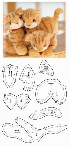 Cats Toys Ideas - Kitties - found at modaeacessorios-f.: - Ideal toys for small cats Cat Crafts, Doll Crafts, Sewing Crafts, Sewing Projects, Plushie Patterns, Animal Sewing Patterns, Doll Patterns, Sewing Stuffed Animals, Stuffed Animal Patterns