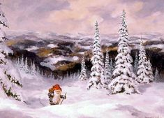 Tomte hiking through the winter wonderland of Scandinavia  -- looking for the perfect Christmas tree perhaps?