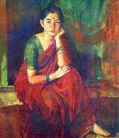 Indian Women Painting, Indian Art Paintings, Indian Artist, Figure Sketching, Figure Drawing, Woman Painting, Figure Painting, Girl Artist, Drawing Poses