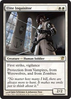 Magic: the Gathering - Elite Inquisitor - Innistrad by Wizards of the Coast. $0.99. A single individual card from the Magic: the Gathering (MTG) trading and collectible card game (TCG/CCG).. This is of Rare rarity.. From the Innistrad set.. Magic: the Gathering is a collectible card game created by Richard Garfield. In Magic, you play the role of a planeswalker who fights other planeswalkers for glory, knowledge, and conquest. Your deck of cards represents all the wea...