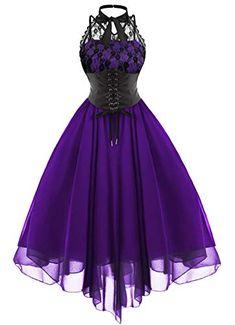 2019 Gothic Bow Party Dress Women Vintage Black Sleeveless Cross Back Lace Panel Corset Swing Dress Robe Vestidos Femme, Purple / XL Cute Prom Dresses, Party Dresses For Women, Pretty Dresses, Beautiful Dresses, Chiffon Dresses, Lace Chiffon, Sleeveless Dresses, Maxi Dresses, Prom Gowns