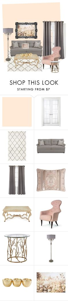 """""""blush living room"""" by hairkat ❤ liked on Polyvore featuring interior, interiors, interior design, home, home decor, interior decorating, Royal Velvet, Eclipse, Dian Austin Couture Home and John-Richard"""