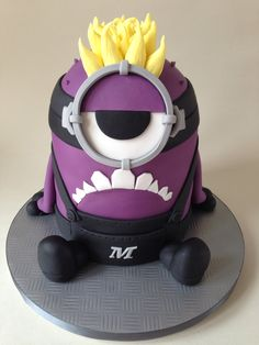 Purple Minion cake with a bleached blond Mohican
