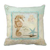 Sea Horse  Coastal Beach - Home Decor Pillow