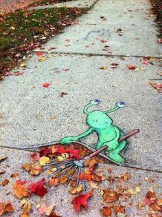 Walk around town with chalk