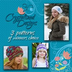 Crystalized Designs - cbucholz@rocketmail.com URL: https://www.facebook.com/crystalizeddesignsforyou PRIZE: 1 winner receives 3 PDF crochet patterns of winners choice sent via email or Ravelry Gift.