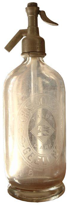 Chas Cole & Co Geelong. Vintage Soda Syphon. Heron & Fish trade mark.
