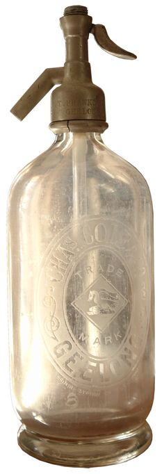 Chas Cole & Co Geelong. Vintage Soda Syphon. Heron & Fish trade mark.
