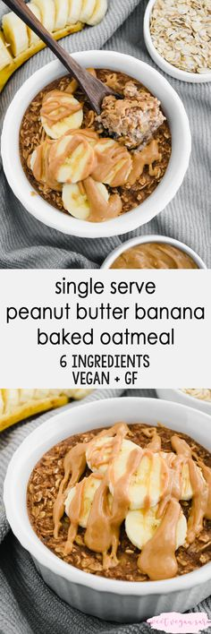 Recipes Oatmeal Vegan single serve peanut butter banana baked oatmeal is sweet, satisfying, and so cozy. The best way to enjoy oats for a healthy start to the day! Made with 6 ingredients, gluten free, and naturally sweet. Clean Dinner Recipes, Clean Eating Dinner, Vegan Breakfast Recipes, Brunch Recipes, Vegan Recipes, Free Recipes, Healthy Dinners, Healthy Snacks, Healthy Eating