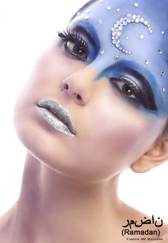 Celestial theme moon and stars blue makeup
