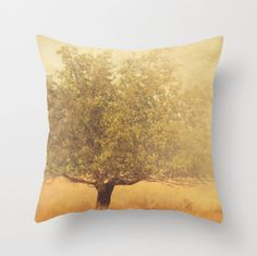 decorative pillow cover, rustic home decor, mustard yellow gold, olive green brown, tree photography, California pillow, 16x16 18x18 pillow. $34.00, via Etsy.