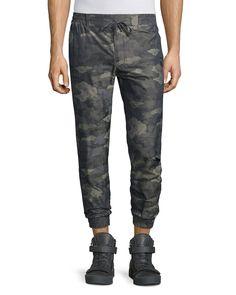 Camo-Print Nylon Jogger Pants, Olive (Green), Men's, Size: XL - Helmut Lang