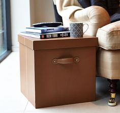 faux leather storage boxes in tan...makes for a great bedside table or coffee table in the lounge