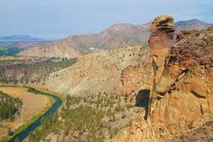 Smith Rock, Bend Oregon ~ At the top of the summit is 'Monkey Face Rock'.