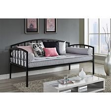 Black Day Bed Twin Metal Frame Furniture Home Bedroom Dorm Sleeper Sofa Daybed