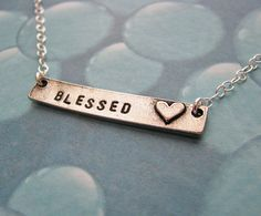 personalized bar necklace with heart by juliethefish on Etsy