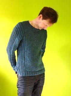 Colum - Man's Ribbed Sweater Knitting pattern by Jane Howor.- Colum – Man's Ribbed Sweater Knitting pattern by Jane Howorth Mens Knit Sweater Pattern, Sweater Knitting Patterns, Ribbed Sweater, Knit Patterns, Men Sweater, Jumper, Knit Crochet, Crochet Pattern, Stress