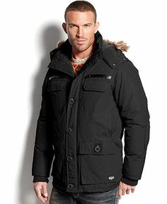 Buffalo David Bitton Faux-Fur-Trim Zip-Front Jacket - Coats & Jackets - Men - Macy's