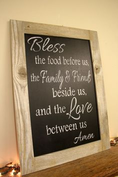Bless The Food Before Us Chalkboard Sign Dining Room Kitchen Sign Reclaimed Wood Country Decor Rustic Decor Rustic Sign Shabby Chic Decor
