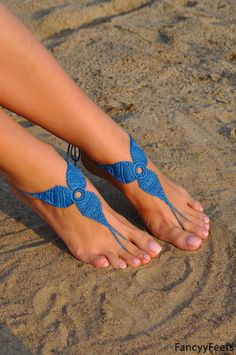 Crochet Blue Barefoot Sandals Foot jewelry by FancyyFeets on Etsy