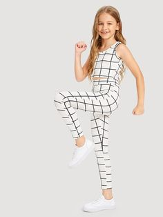 Outfits for kids Girls Grid Tank Top & Pants Set Girls Grid Tank Top & Hosen Set Back To School Outfits For Kids, Kids Outfits Girls, Girls Fashion Clothes, Tween Fashion, Cute Outfits For Kids, Cute Girl Outfits, Cute Summer Outfits, Teen Fashion Outfits, Cute Casual Outfits
