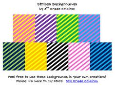 FREE by 3rd Grade Gridiron: Spice up your products with these 20 different stripes backgrounds! You can use for personal or commercial products.  There are several different c...