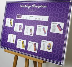 Sweet themed purple wedding table plan for Cadburys chocolate lovers. Each table named after a chocolate bar.  Colours for the backdrop can easily be altered to suit your wedding theme. Impressive A1+ in size supplied laminated and mounted to board. Ship internationally.