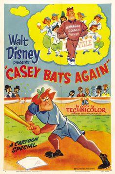 """Walt Disney Presents """"Casey Bats Again"""" 1954 cartoon poster Disney Movie Posters, Classic Movie Posters, Classic Cartoons, Disney Films, Disney Cartoons, Walt Disney Co, Disney Love, Classic Disney Movies, Disney Presents"""