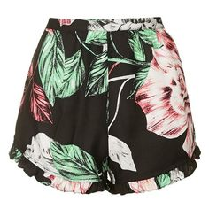 KENDALL + KYLIE at Topshop Floral Print Shorts ($58) ❤ liked on Polyvore featuring shorts, bottoms, short, pants, short shorts, floral shorts, lightweight shorts, floral printed shorts and rayon shorts