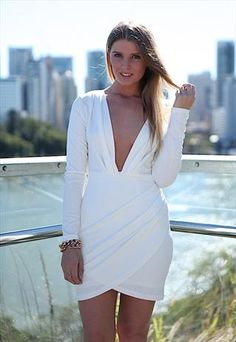 White Long Sleeved Infinite Nighte Dress with Draped Details