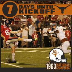7 DAYS UNTIL KICKOFF! Texas blocked seven kicks in 2012, which tied for third in the nation. #UT63Champs
