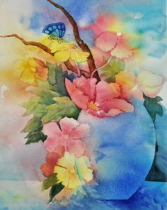 """This painting titled """"Blue Vase Bouquet"""" started with a multicolored wash of lemon yellow, cerulean blue, ultramarine, and a bit of alizarin crimson.  Afterward, I searched to find an image to draw out of the background and this lovely bouquet is what I came up with."""