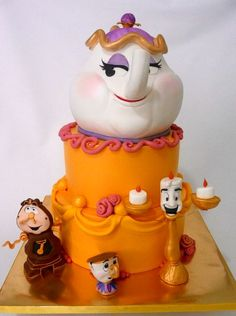 So Awesome Beauty In The Beast Mrs. Potts Tea Pot & Chip Cake!!