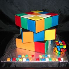 Rubic's Cube Cake...Its perfect. hahaha. Husband loves it too