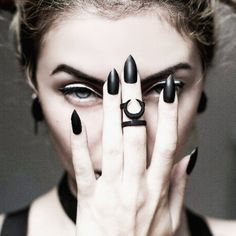 Lying behind the moon, the 'Occult' midi in matte black for a serious witchin' look on our fave @beatrizmarianophotography ! ♥ Grab yours here! //SHOP: therogueandthewolf.com
