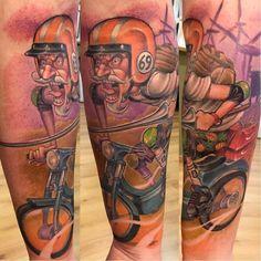 Don Quixote tattoo by Mr Koan #MrKoan #newschool #newschoolstyle #racer