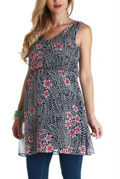 Navy Blue Pink Floral Maternity Tunic - have this....LOVE it!