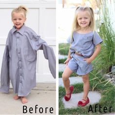 DIY dream: This mom conjures up beautiful .- DIY-Traum: Aus alten Hemden zaubert diese Mama wunderschöne Kindersachen This mom conjures up beautiful children& things from old shirts - Diy Clothing, Sewing Clothes, Clothes Refashion, Children Clothing, Fashion Kids, Diy Dress, Shirt Dress, Kids Outfits, Cute Outfits